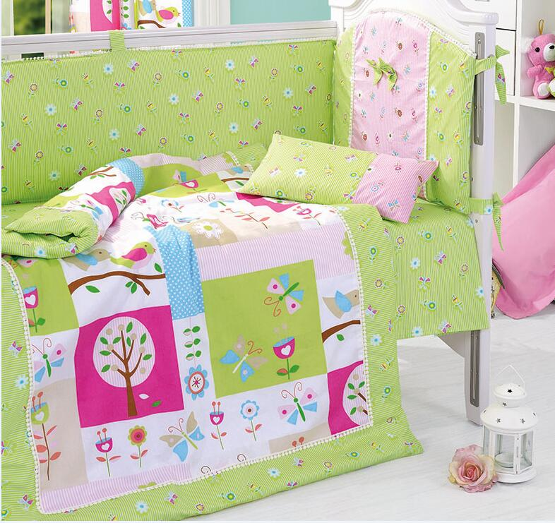8 Pieces Set In the Night Garden Green Baby Bedding Set Baby Nursery Cot Crib Bumper Quilt Fitted Sheet Dust Ruffle With Quilt(China (Mainland))