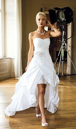 Appliques Hi-Low Wedding Dresses Sweetheart Bridal Dress Pick Ups Taffeta Wedding Gown Custom Made US Size 2 4 6 8 10 12+ PT042(China (Mainland))