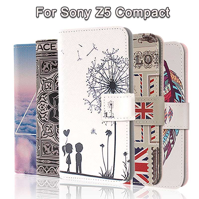 Fashion Painting Cross Lines Flip Wallet Case for Sony Xperia Z5 Compact Cover Sony Z5 Compact Case Coque Fundas PU Leather(China (Mainland))