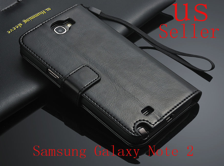 Black Genuine Leather Flip Wallet Stand Case Cover For Samsung Galaxy Note 2 US stock 1-5 days ship USPS with tracking same day(China (Mainland))