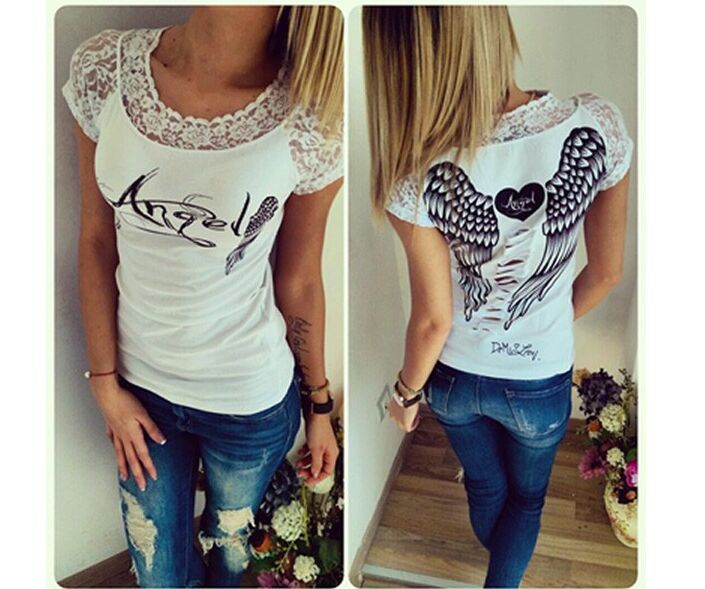 Fashion Women s T shirt Back Hollow Angel Wings T shirt Tops Summer Style Woman Lace
