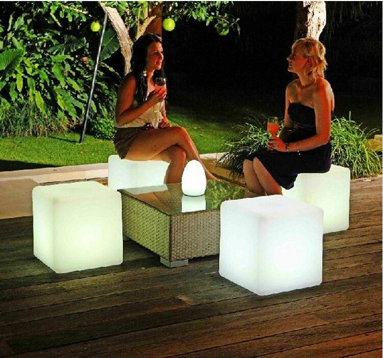 40cm LED cube chair for outdoor party/Led Glow Cube Stools Led Luminous Light Bar Stool Color Changeable(China (Mainland))