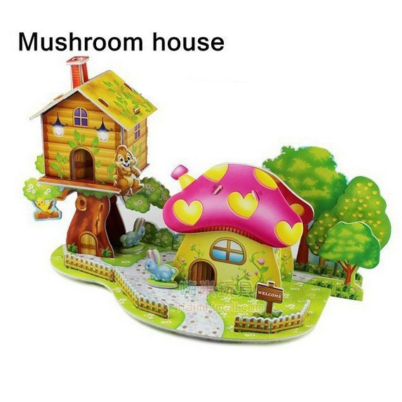 New Arrival Hot Cute Educational 3D Model Mushroom House DIY Puzzle Jigsaw Crafts Kids Toy Great Gift(China (Mainland))
