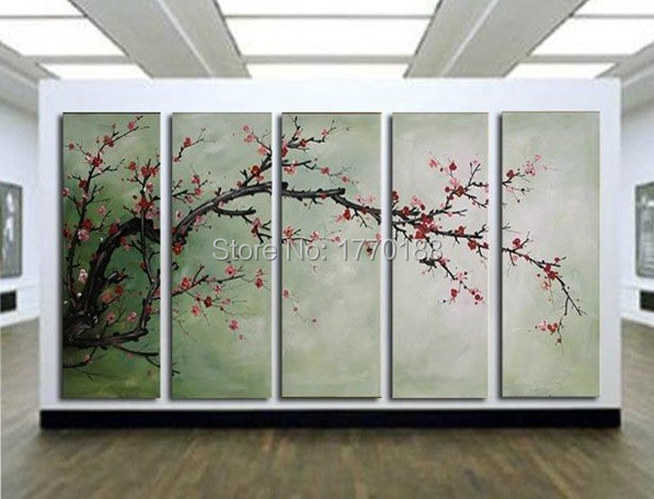 The Cherry blossoms,5 Panels Handmade Huge chinese decorative Flower Oil Painting on Canvas Wall Art japanese style(China (Mainland))