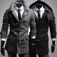 2015 New Winter Men's Casual Pure Color Long Sleeve Medium Style Worsted Horn Button Single-breasted Coat Outerwear(China (Mainland))