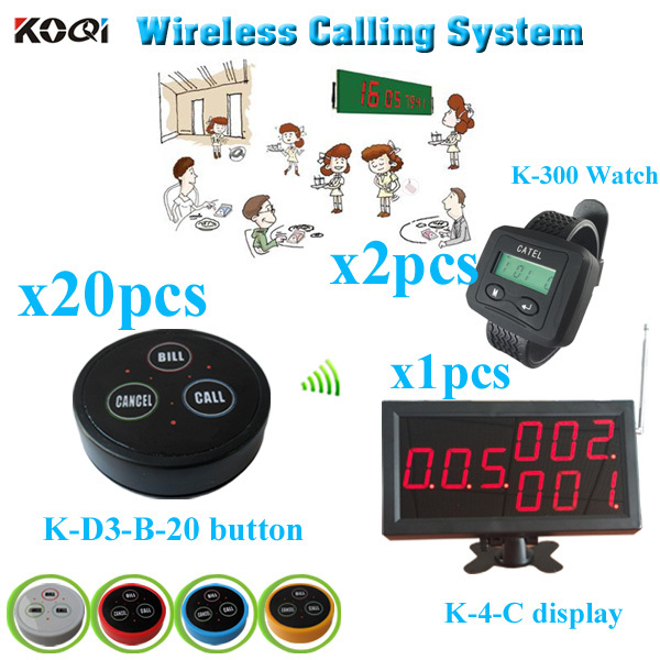 Restaurant Call System with monitor bell button watch pager (1 display receiver+ 2 watch +20 table bell button)(China (Mainland))