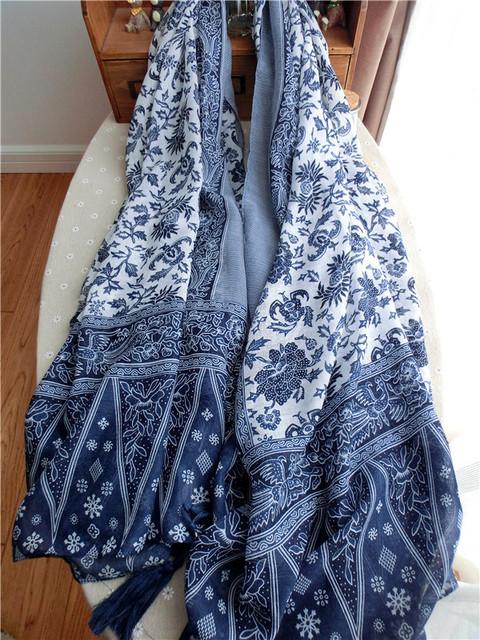 Китайский ретро национальный стиль синий и белый фарфор бахромой хлопка и льна шарф торговли литературный элегантность большой платок шарфы