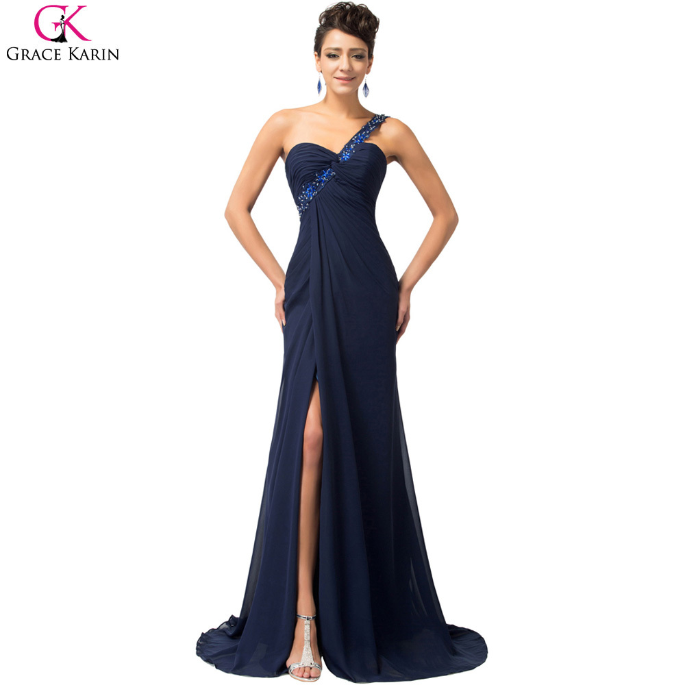 Grace karin one shoulder mermaid floor length chiffon long for Women s dresses for weddings