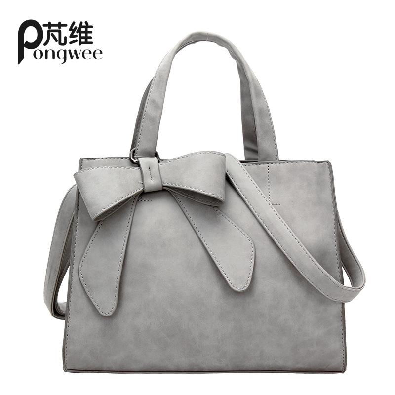 designer coach bags z1dh  PONGWEE Simple Handbag Inclined Bowknot adornment Shoulder Ladies Bag Women  High Quality PU Sac 2016 Woman Bags Handbags Women