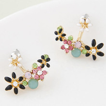 Fashion Korean Gold Plated Crystal Stud Earrings Bijoux Women Earrings Flower boucle d'oreille Fashion Jewelry Women Accessories(China (Mainland))