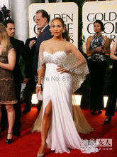 Elaborate Sheer Crystals Beading Scoop Ivory Chiffon Evening Gown Slit Sheath Red Carpet Celebrity Dresses 2015