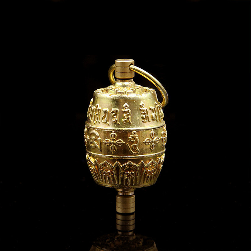 Buddhist Supplies Exquisite Carving Handmade Pure Copper Om Mani Padme Hum Finger Pinch Prayer Wheel Gold Gaudencio Box Pendant(China (Mainland))