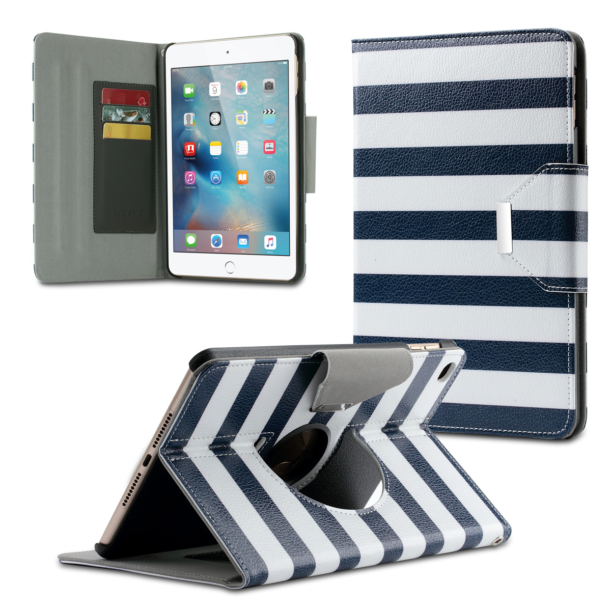 "For Apple iPad mini 4 case, ULAK 360 Rotating Case with Media Stand + Credit Card Slots for iPad mini 4 (7.9"" inch)(China (Mainland))"