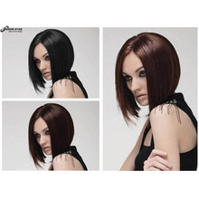 Women Short Bobo Wigs Straight Black Brown Synthetic Kanekalon Hair Wigs Highlighted Heat Resistant Natural Middle Part Wig(China (Mainland))