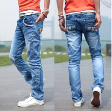 High quality 2016 New Listing Four Seasons Fashion Slim Pocket Grid Design Casual Jeans Boutique Jeans Size 28-36(China (Mainland))