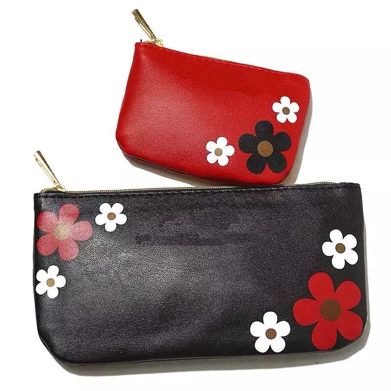 Fashion casual flower handbags makeup bag simple daisy pattern cosmetic cases Small two-piece bag(China (Mainland))