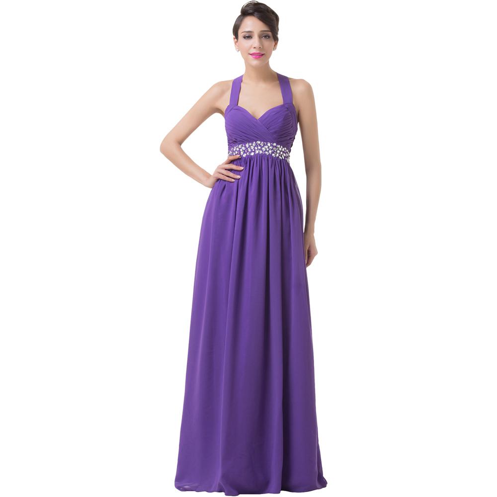Grace Karin Dresses Halter Chiffon Women A line Purple ...