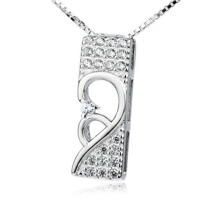Valentine's day gift 925 sterling silver jewelry wholesale high quality 925 sterling silver half crystal heart pendant(China (Mainland))