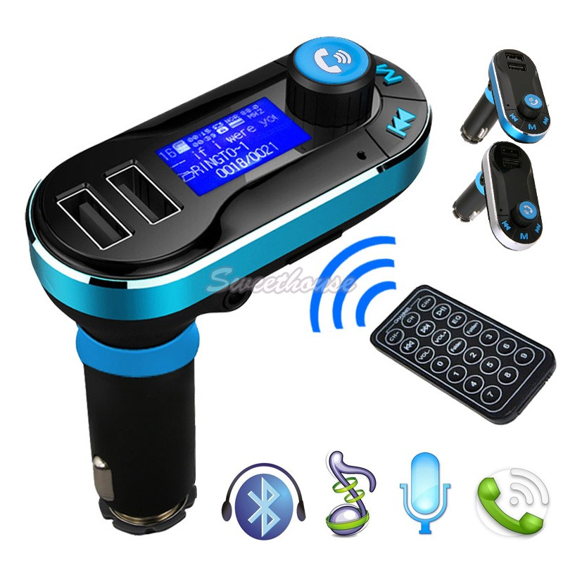 New Hot Sale Universal Wireless Bluetooth Car Kit MP3 Player FM Transmitter Dual USB Charger Silver and Blue 25(China (Mainland))