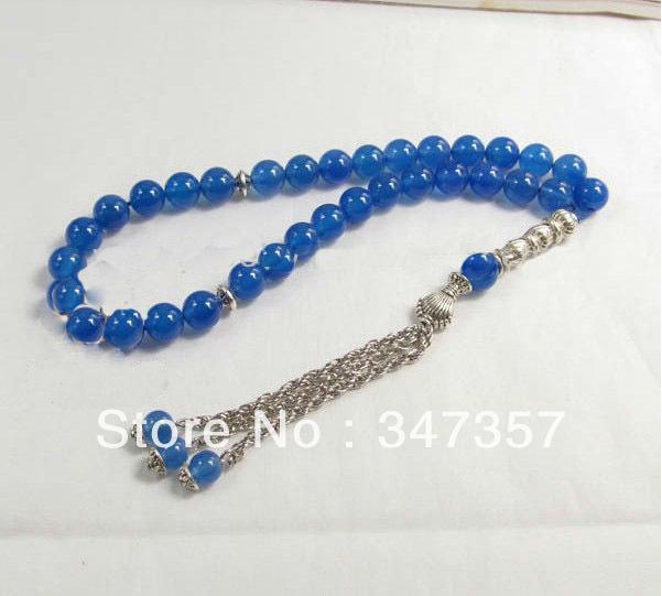Design Natural 33 Blue Agate Prayer Beads 8mm Islamic Muslim Tasbih Allah - Guangzhou Amber Jewelry Co.,Ltd store