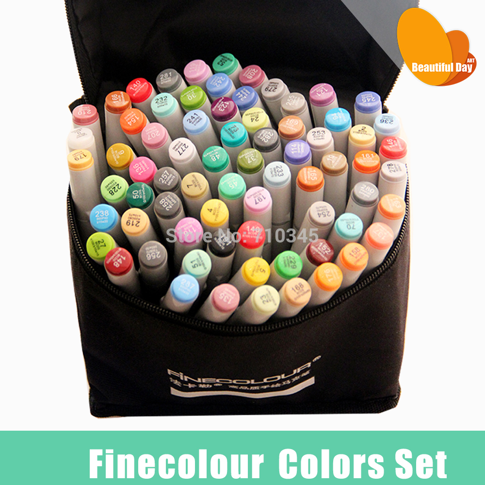 FINECOLOUR Artist Double Headed Sketch Marker Set 12 24 36 48 60 72 Colors Alcohol Based Manga Art Markers Design Supplies - Beautiful Day ART store