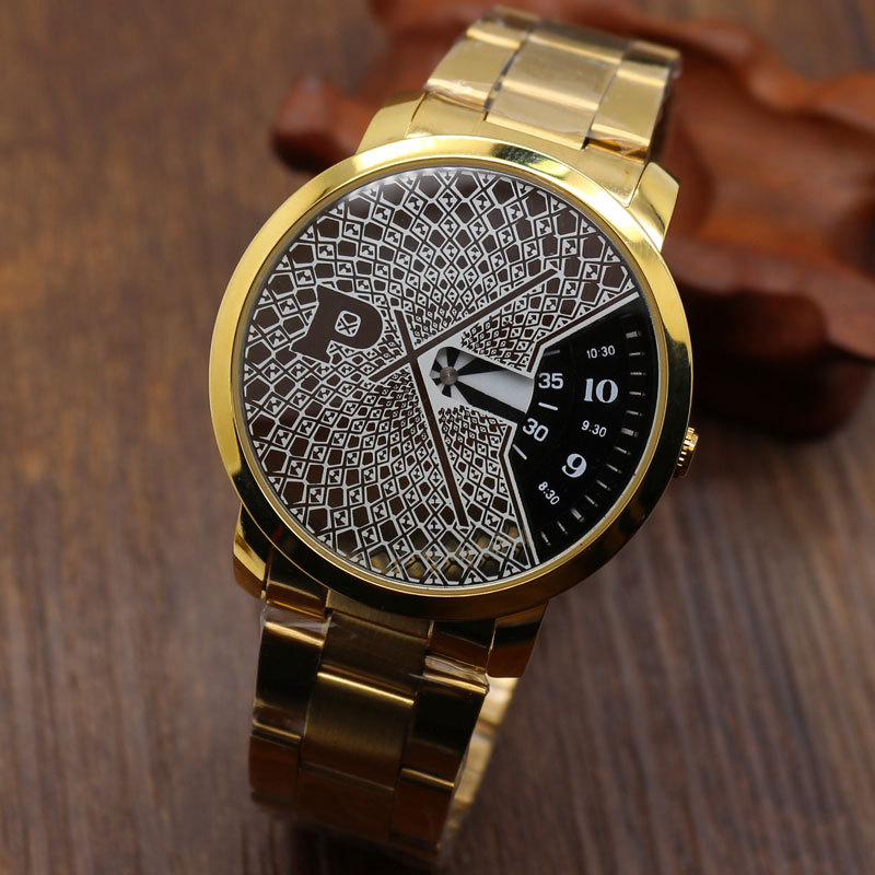 2015 Stainless Steel Golden Color PAIDU Quartz Wrist Watch Turntable Dial Black/White Men's Gift Free Shipping(China (Mainland))