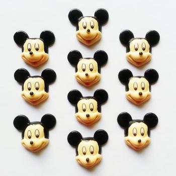 50 pcs Mickey Mouse Resin Cabochon FlatBack Scrapbooking Girl Embellishments for Hair Bow Garden Decoration Accessories 1.2""