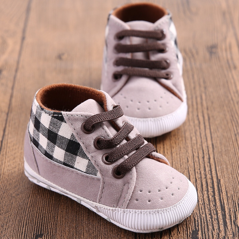 Toddler Infant Baby Boy Shoes Laces Casual Sneaker PU Plaid Soft Sole Crib Shoes(China (Mainland))