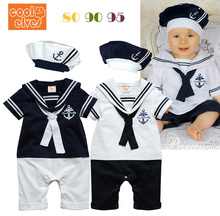 Free shipping 2014 summer Retail navy style baby romper suit kids boys girls rompers+hat body summer short-sleeve sailor suit(China (Mainland))