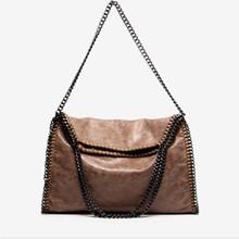 Solid Scrub Foldable Chain PU Handbag Shoulder Bags Multicolor Wild High End Women Leather Handbags Channel