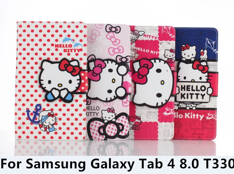 For Samsung Galaxy Tab4 8.0 T330 T331 Cute Bowknot Hello Kitty super quality Fashion Leather Tablet Cases Cover 50PCS<br><br>Aliexpress
