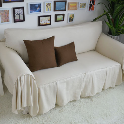 Decorative sofa cover sectional modern slipcover beige for Housse pour sofa
