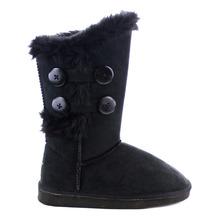Botón Lindo de la mujer Faux Fur Mitad de la Pantorrilla Invierno Botas de Nieve Botas de Invierno Ronda Dedo Del Pie Plana con Zapatos de Invierno(China (Mainland))