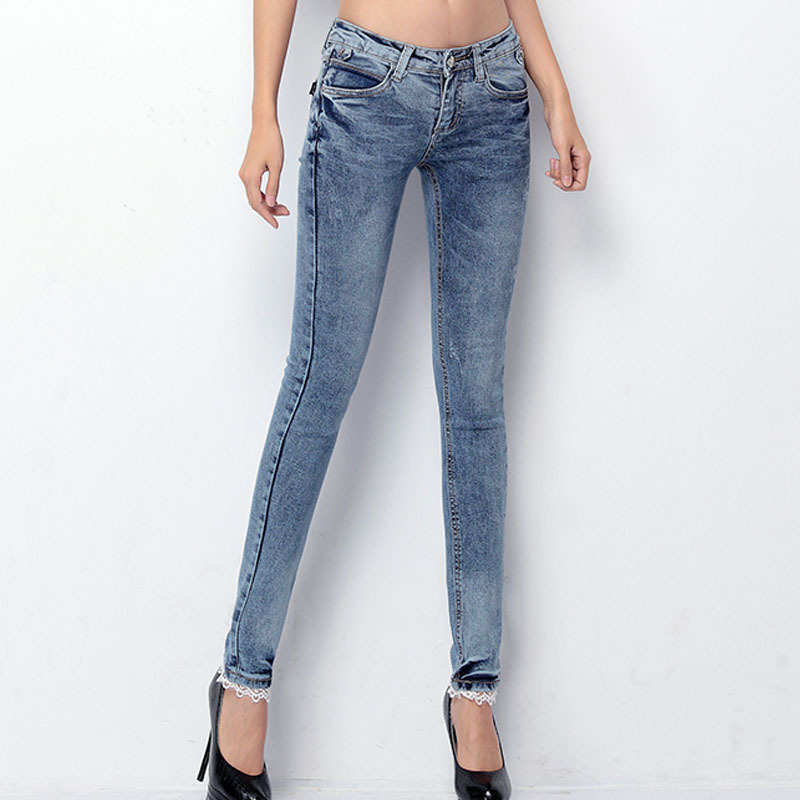2015 Brand Spring Autumn Mid Waist Super Skinny Denim Jeans Women Blue Slim Pencil Pants Women's D6286 - Hello madam store