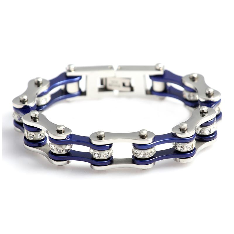 European Vintage Stainless Steel Motorcycle Charm Bracelets for Men Women Unisex Blue Silver Crystal Fashion Wish Bracelet(China (Mainland))