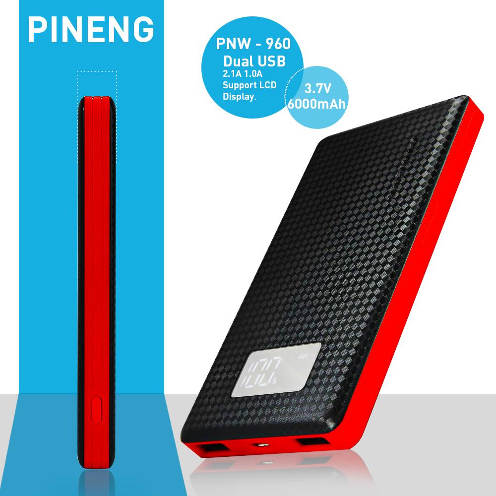 Original PINENG PNW - 960 Dual USB Charging 6000mAh Li-Polymer Portable Power Bank External Battery Quick Charger LCD Screen(China (Mainland))