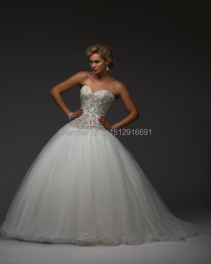 Elegant sweetheart white lace organza applique wedding for Wedding dresses without sleeves