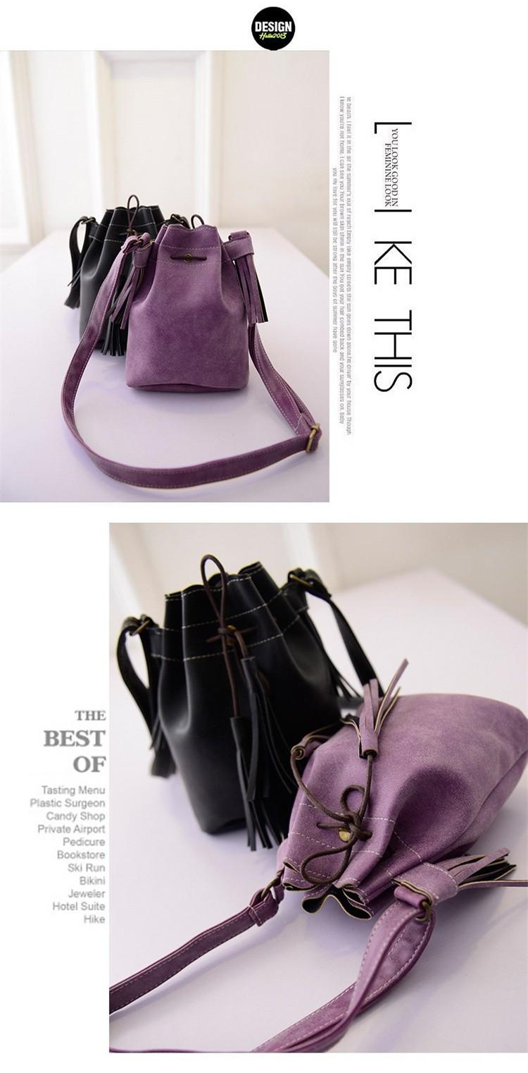 Vintage Bucket Women Shoulder Bags Fashion Tassel Bags Small Women