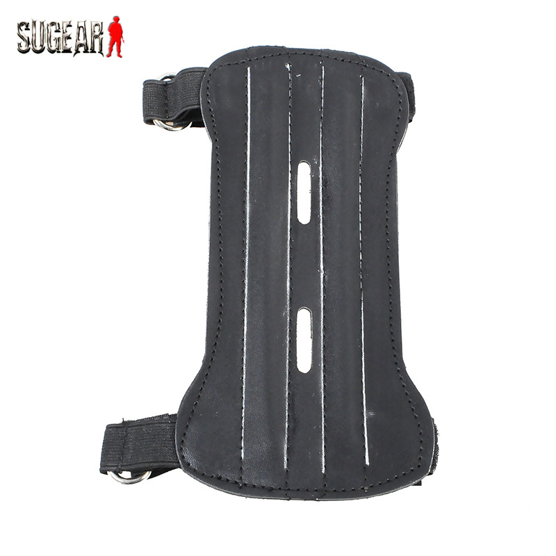 Soft Adjustable 2 Straps Archery Arm Guard Leather For Bow Arrow Sports Hunting Shooting PU Armbrand