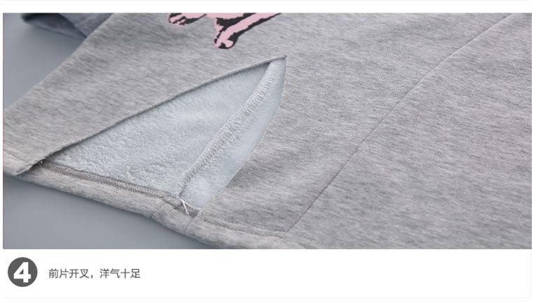 Скидки на Корейские Девушки Зимние Упругой Рубашка-брюки Из Двух Частей Детская Одежда Устанавливает Серый Черный Хлопок Кошка Печатные Полосы
