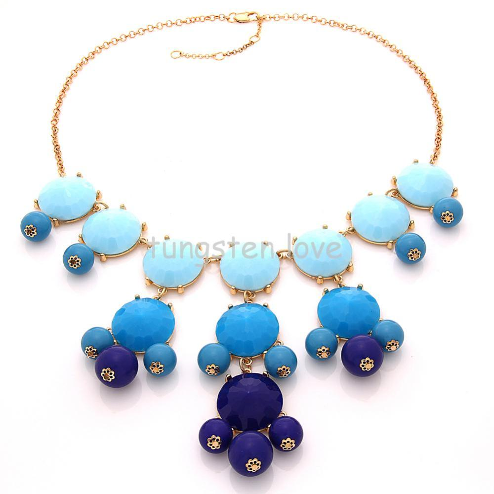 Bubble Bib Statement Necklace 2014 Choker Jewellery Round Acryl Beaded necklaces fashion women Ladies Gift(China (Mainland))