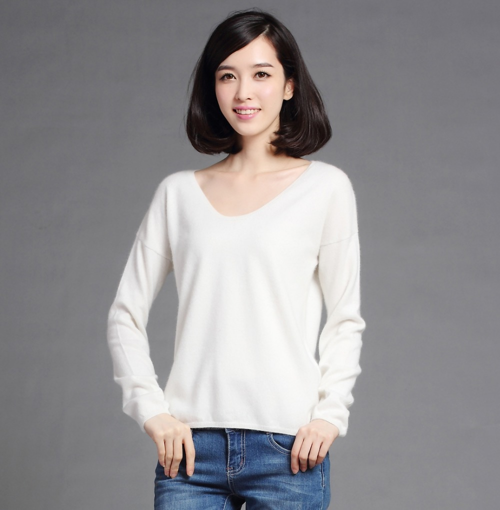 100% Pure Goat Cashmere Sweaters Women Fashion Low V-neck Pullovers Machine Knitting Female Sweater Winter Spring Knitwear(China (Mainland))