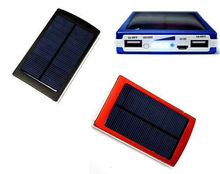 10000mAh Double USB Output Power Bank Uniersal Solar Panel Battery Charger External Battery Pack Power Supply Black Red Blue(China (Mainland))