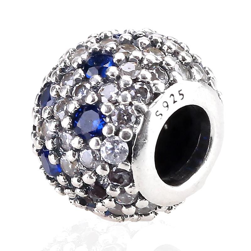 Hot Sale 925 Sterling Silver Bead Charm Heart Beautiful Blue Full Crystal Beads Fit Women DIY Pandora Bracelets & Bangles YBD187(China (Mainland))