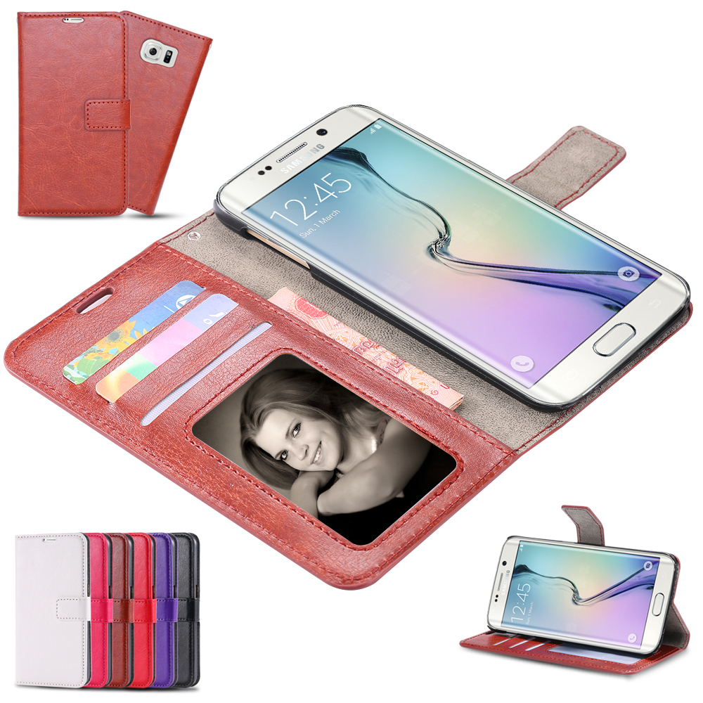 S6 Cases Business Style Crazy Horse Skins PU Leather Flip Case For Samsung Galaxy S6 G9200 Card Slot Photo Frame Wallet Cover(China (Mainland))
