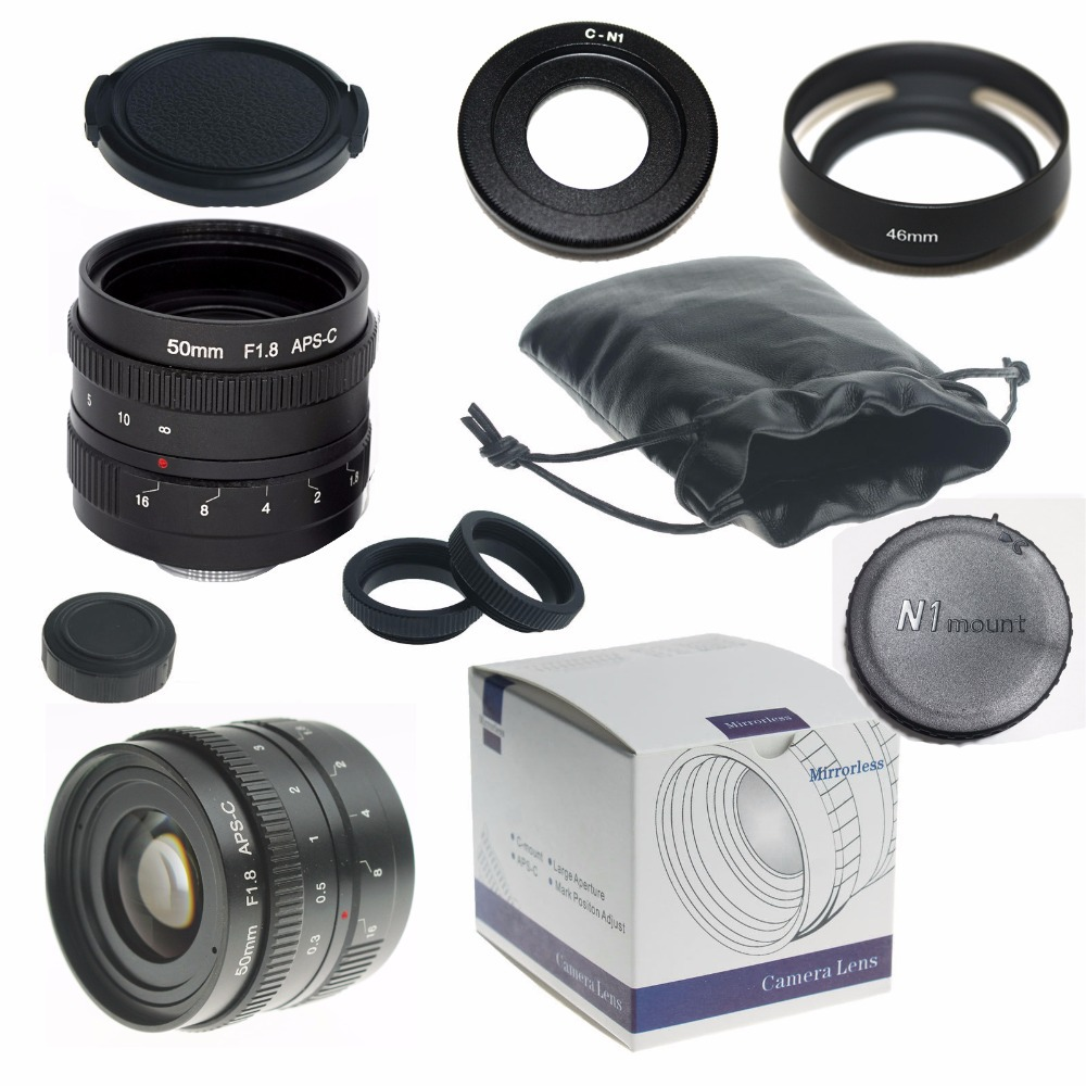 Black 50mm f/1.8 Micro Camera Lens for Nikon1 V1 J1 V2 J2 V3 J3 J4+ C-Nikon 1 adapter + Lens hood + macro ring*2 + lens rear cap<br>