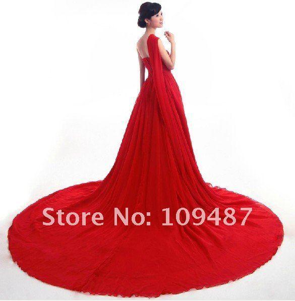 Code red wedding dress red wedding dress, chiffon dress long flowing tail, such as fairy