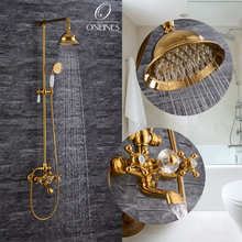 German online European antique full copper and gold shower faucet wall mounted shower faucet(China (Mainland))