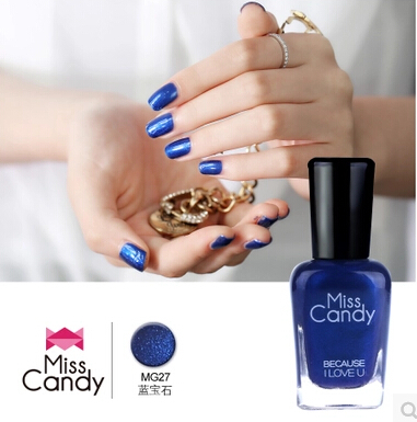 Miss Candy Non-toxic Odorlessness Water-based strippable paint sapphire jewelry blue nail polish(China (Mainland))