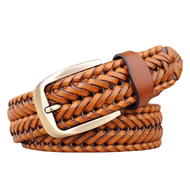2015 New Belt Man Fashion Mens belts luxury genuine leather Brown braided Real Cow skin straps men Jeans Wide girdle Male 120 cm(China (Mainland))